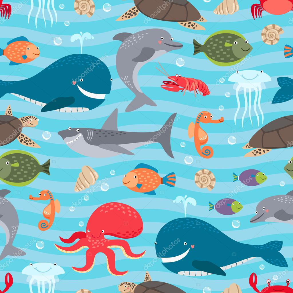 Fondo transparente de criaturas de mar — Vector de stock © MSSA ...