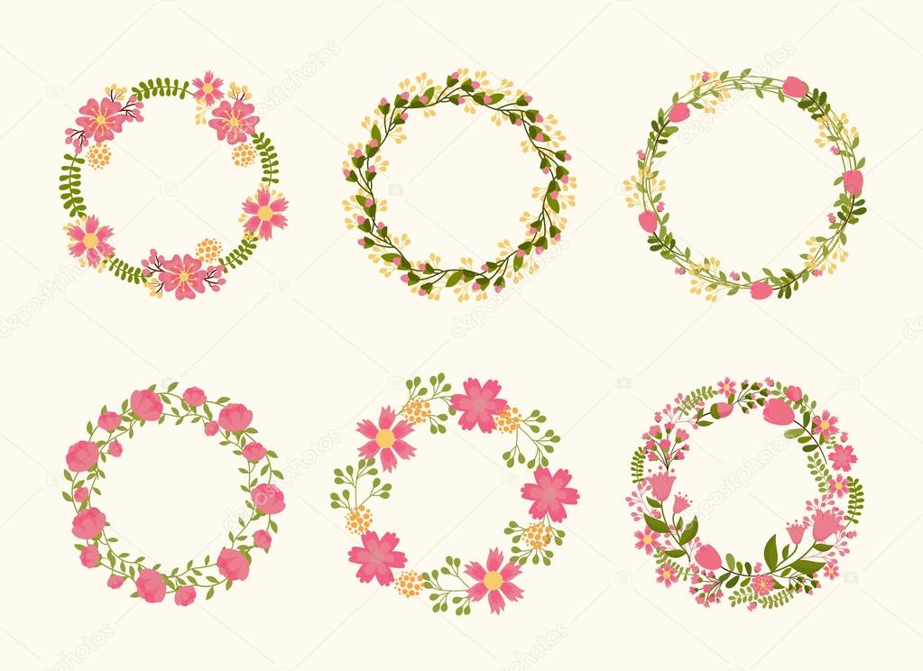 Cute vector wreath frames for wedding invitations