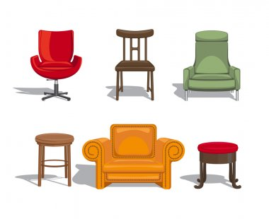 Set of furniture for sitting. Chairs, armchairs, stools icons. Vector illustration stock vector