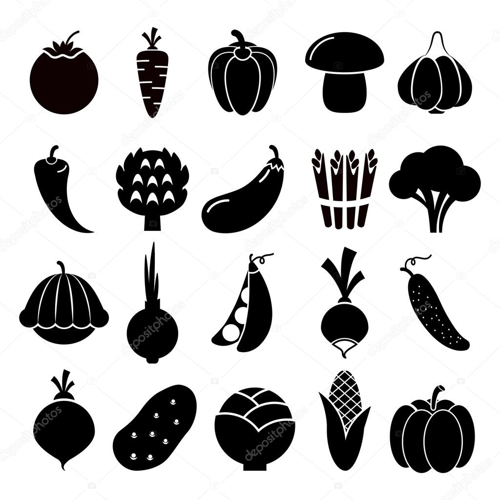 Vegetables silhouettes icons