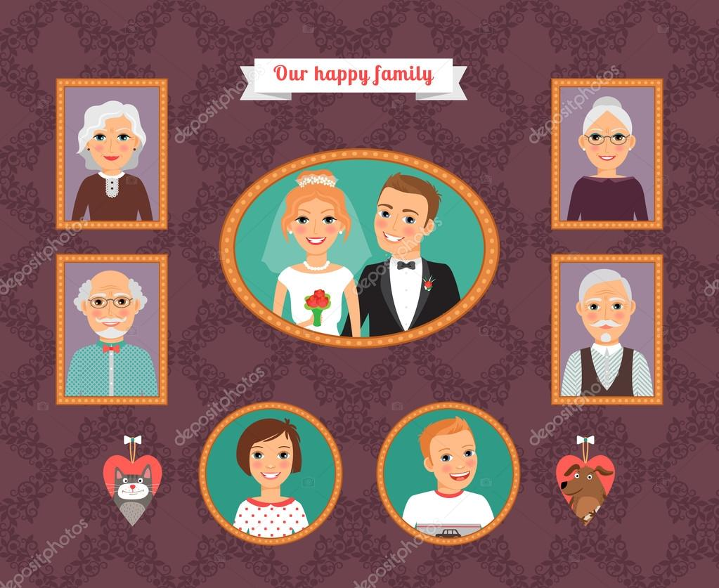 Family portrait. Wall with family photo frames — Stock Vector © MSSA ...