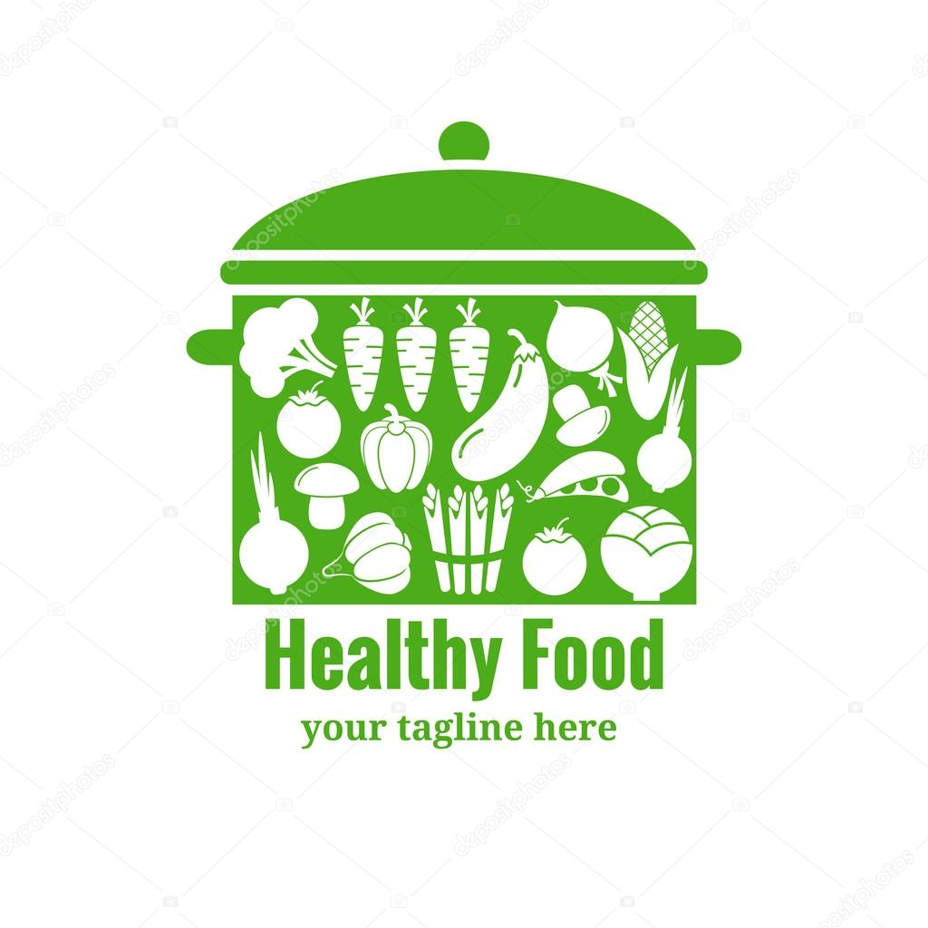 Healthy food badge. Pan with vegetables silhouettes