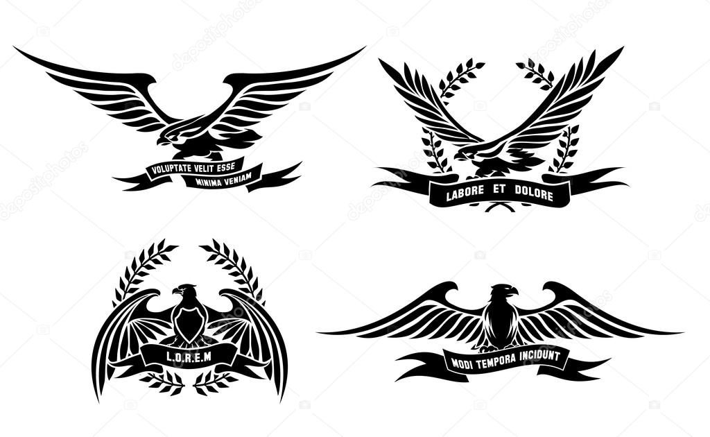 Eagle Heraldische Etiketten Met Lauwerkransen Schilden En Linten