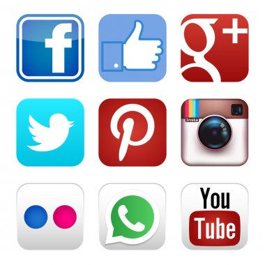 Social media icons set isolated on white background stock vector