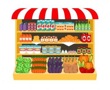 Supermarket. Food on shelves