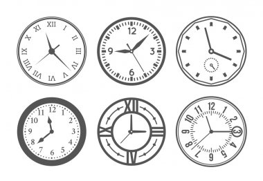 Set of wall clock. Watch and circle, symbol, second and minute. Vector illustration stock vector