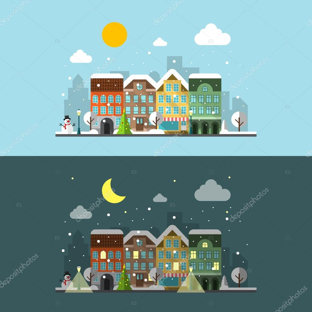 Vector winter city landscape in day and night