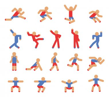 Man in running, jumping and dancing poses