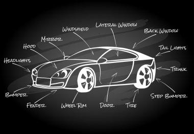Car parts infographic element