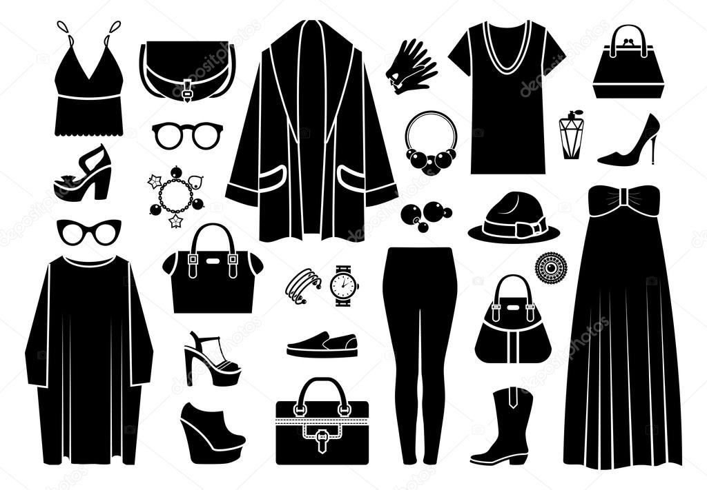 d2a7f4ad06b3 Icone della moda. Abbigliamento e accessori — Vettoriali Stock ...