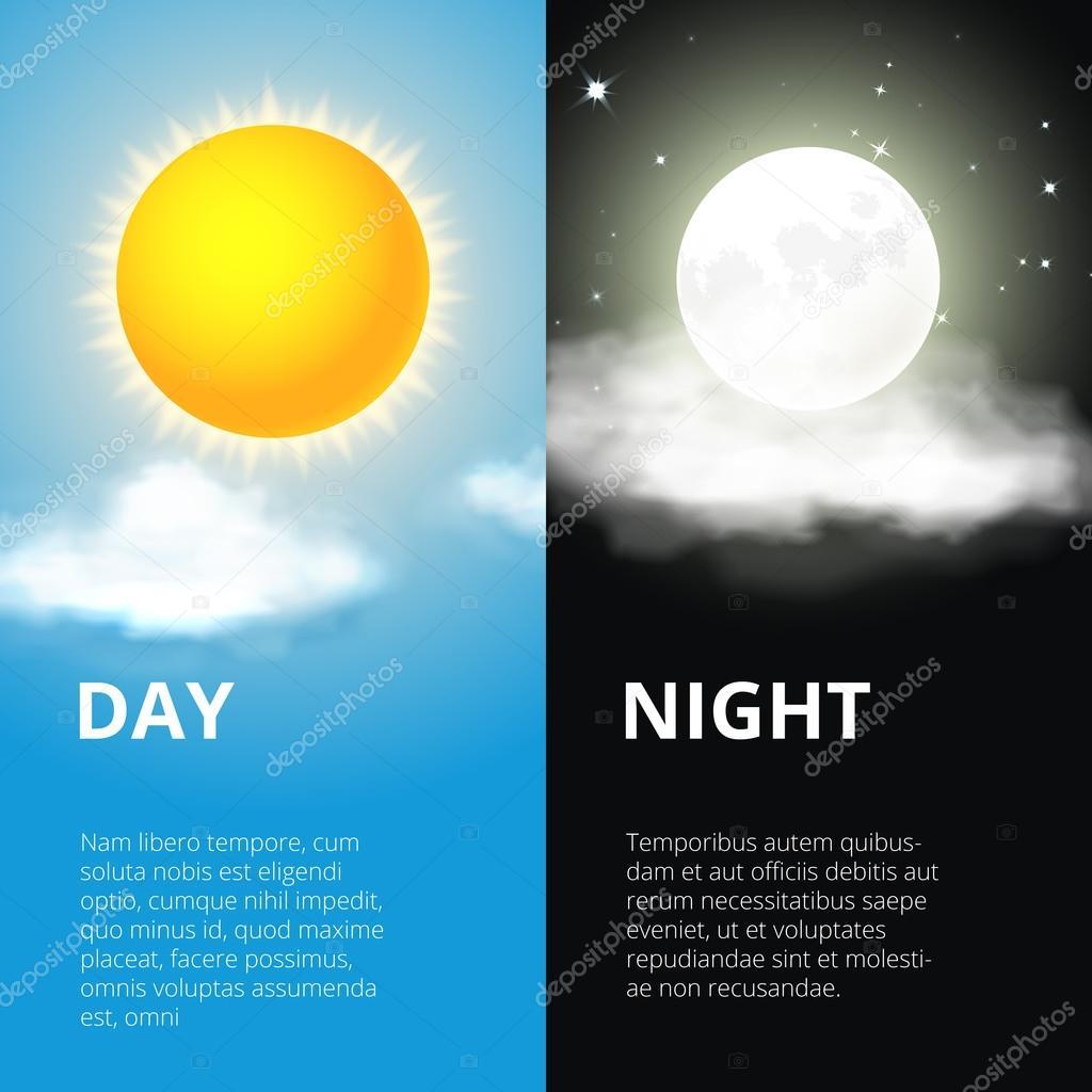 Day and night, sun moon