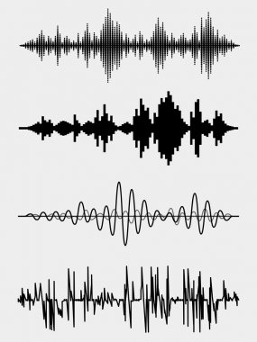Vector sound waves set. Audio equalizer technology, pulse musical. Vector illustration stock vector