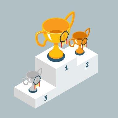 Award trophy cups on winners podium