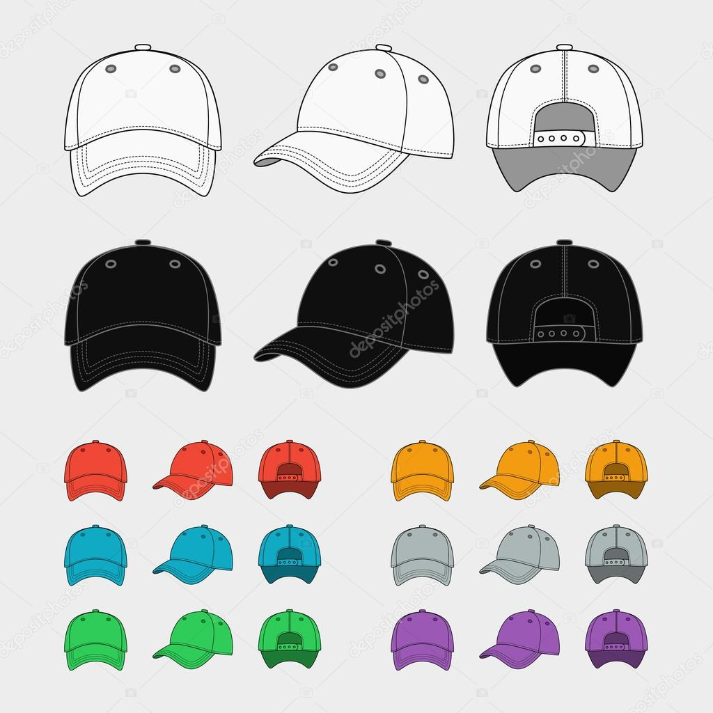 Baseball Cap Vector Template Set Uniform Fashion Blank Hat Design Sport Clothing Illustration Vektor Von MSSA