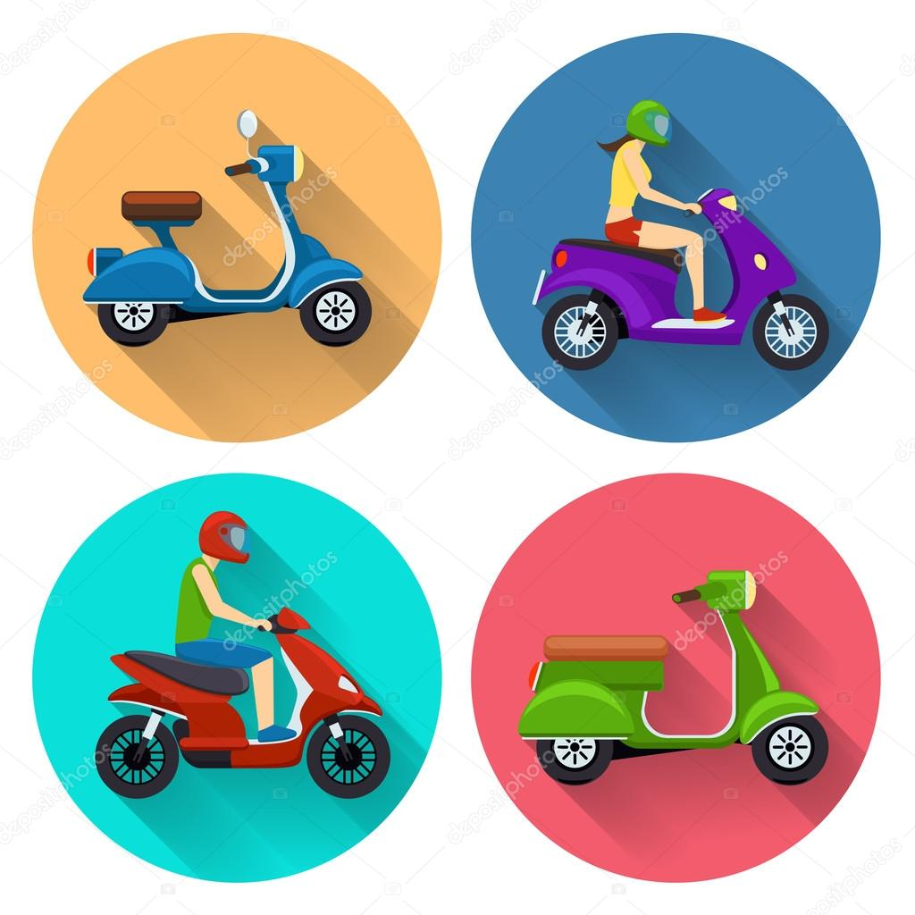 Scooter transport flat icons