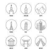 Fotografie World landmark line art icons set