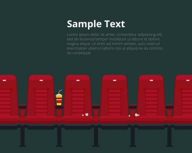 Vector cinema chairs poster with sample text