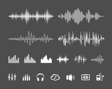 Vector Sound Waveforms. Sound waves and musical pulse icons stock vector