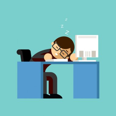 Businessman sleeping on his office desk top