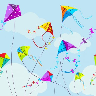 Vector illustration of colorful kites and clouds in the sky. Horizontal seamless pattern