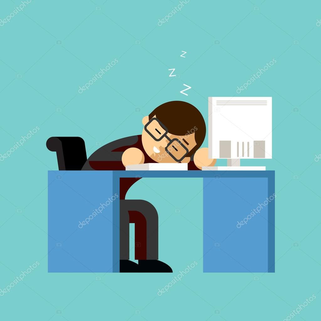 Businessman sleeping on his office desk top