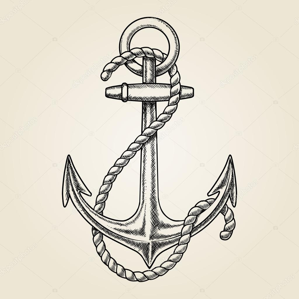 Vector hand drawn nautical anchor