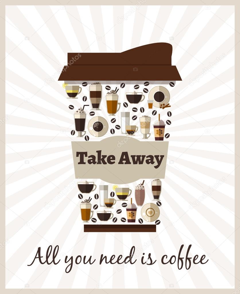 Affiche café à emporter ou à emporter — Image vectorielle ...