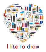 Photo I like to draw. Heart of pencils and paintbrushes