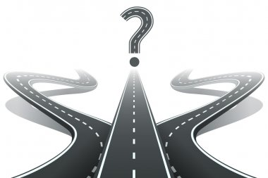 Three roads and question mark. Choosing the right path concept