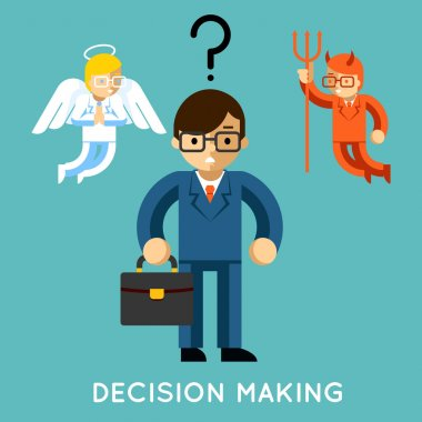 Decision making. Businessman with angel and demon