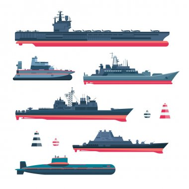 Militaristic ships icons