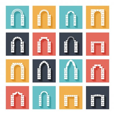 Flat silhouette icons of vector arches with shadow