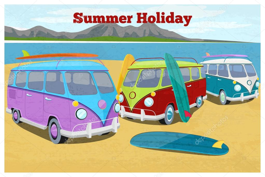 Summer travel design with surfing camper van