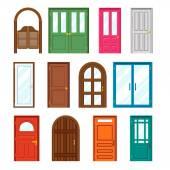 dveře přední budovy ve stylu plochý design