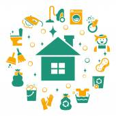 Fotografie Household cleaning icons set