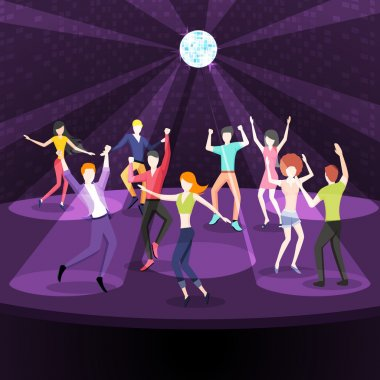 People dancing in nightclub. Dance floor flat style design