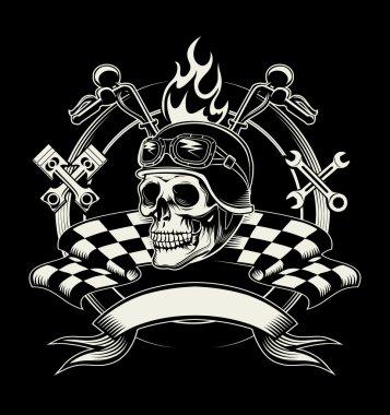 Vector biker emblem with skull or dead motorcycle racer