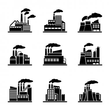 Factory and industrial building icons