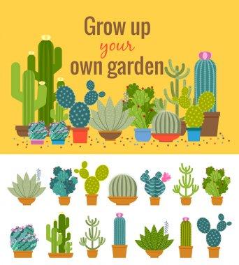 Home cactus garden poster