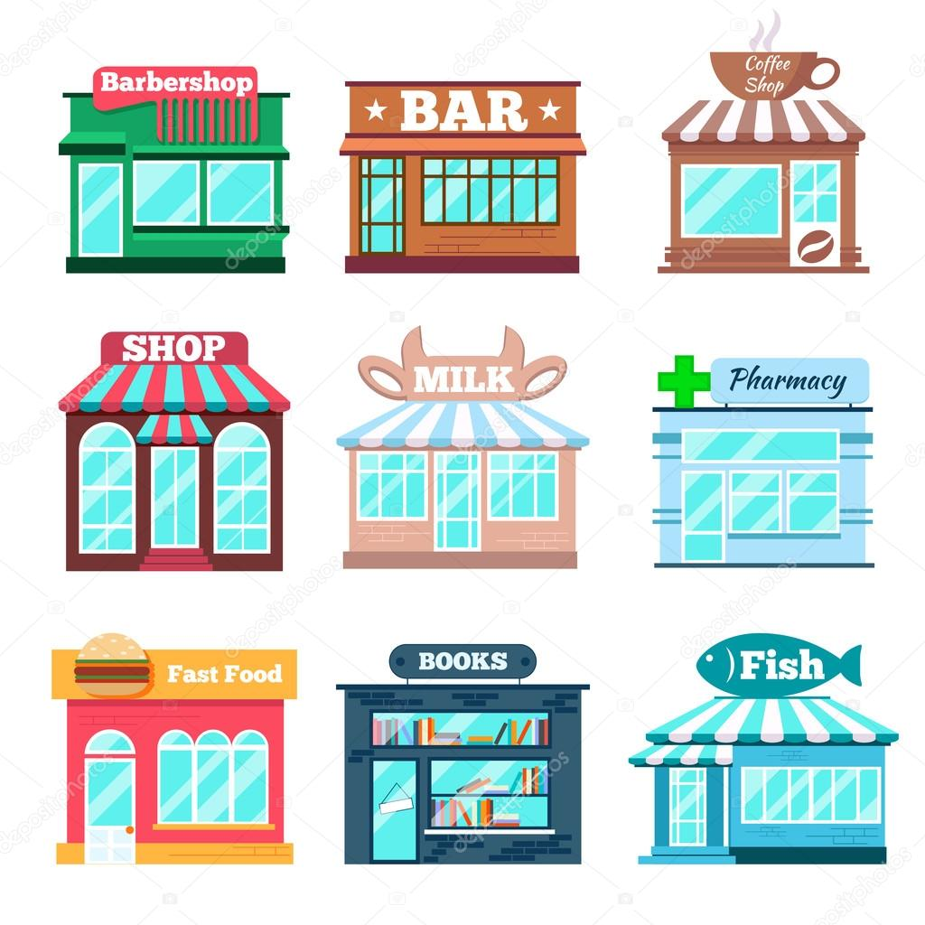 Store and shop buildings flat icons set