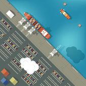 Ilustrace nákladního přístavu v plochý. Pohled shora