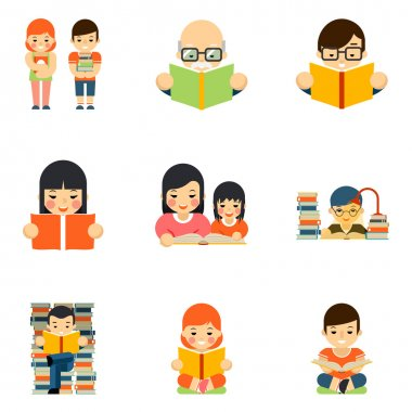 Icons set of people reading book in flat style design