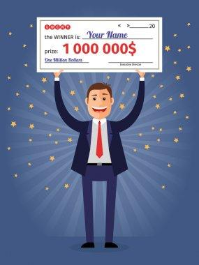 Man holding winning check for one million dollars