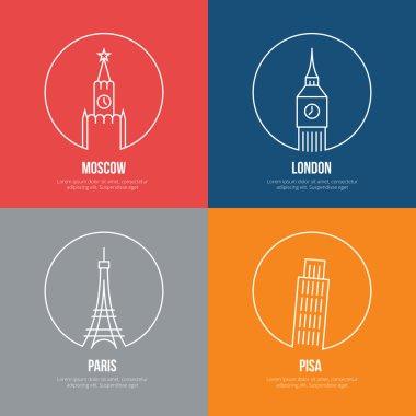 Vector landmarks line art posters