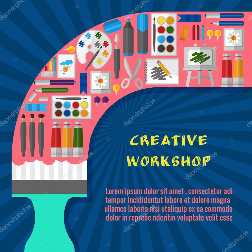 Poster design workshop - Creative Workshop Poster Template Paintbrush And Tool Design And Drawing Pallette And Paint Craft And Gouache And Watercolor