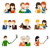 Fotografie Selfie icons set in flat design style