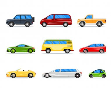 Vector car icons in flat style
