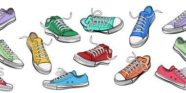 Sneakers shoes horizontal seamless pattern