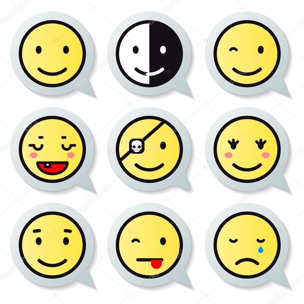 Vector happy face speech bubble