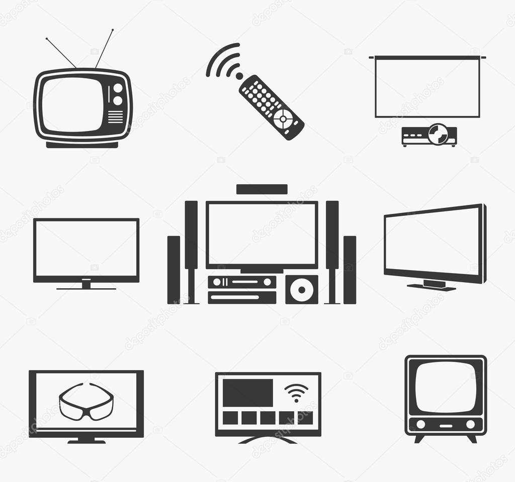 Retro TV flat screen, home theater and smart icons — Stock Vector ... for Tv Antenna Symbol  45hul